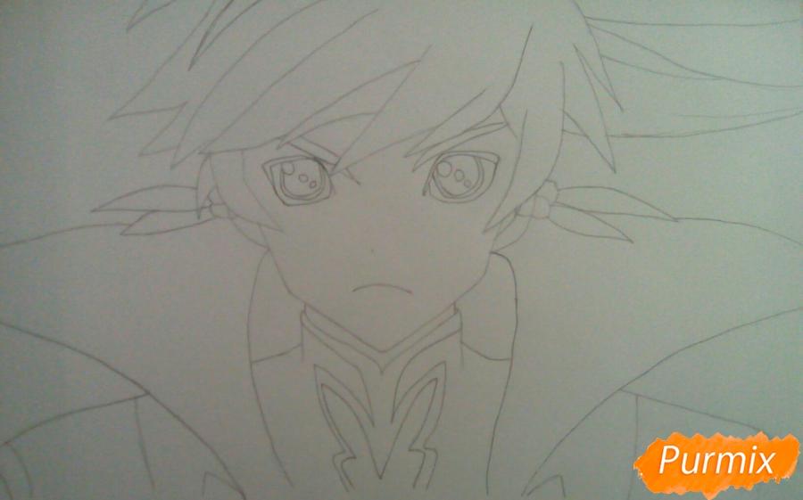 Рисуем Сорея из аниме Сказания Зестирии цветными карандашами - шаг 4