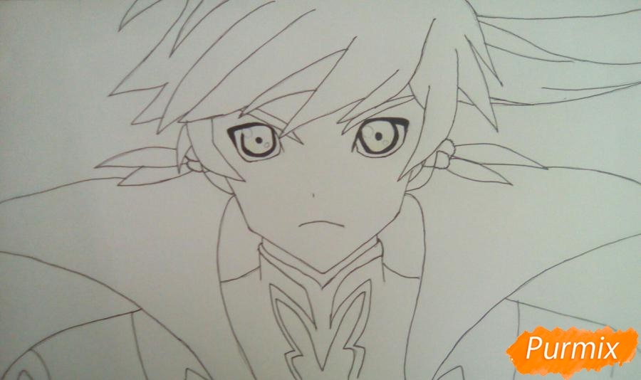 Рисуем Сорея из аниме Сказания Зестирии цветными карандашами - шаг 5