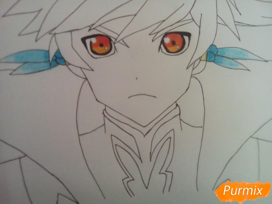 Рисуем Сорея из аниме Сказания Зестирии цветными карандашами - шаг 6