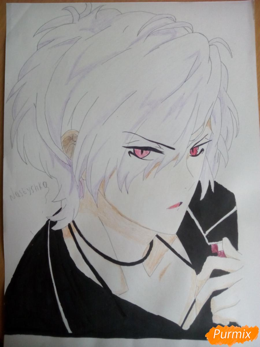 Рисуем Субару Сакамаки цветными карандашами шаг за шагом - шаг 10