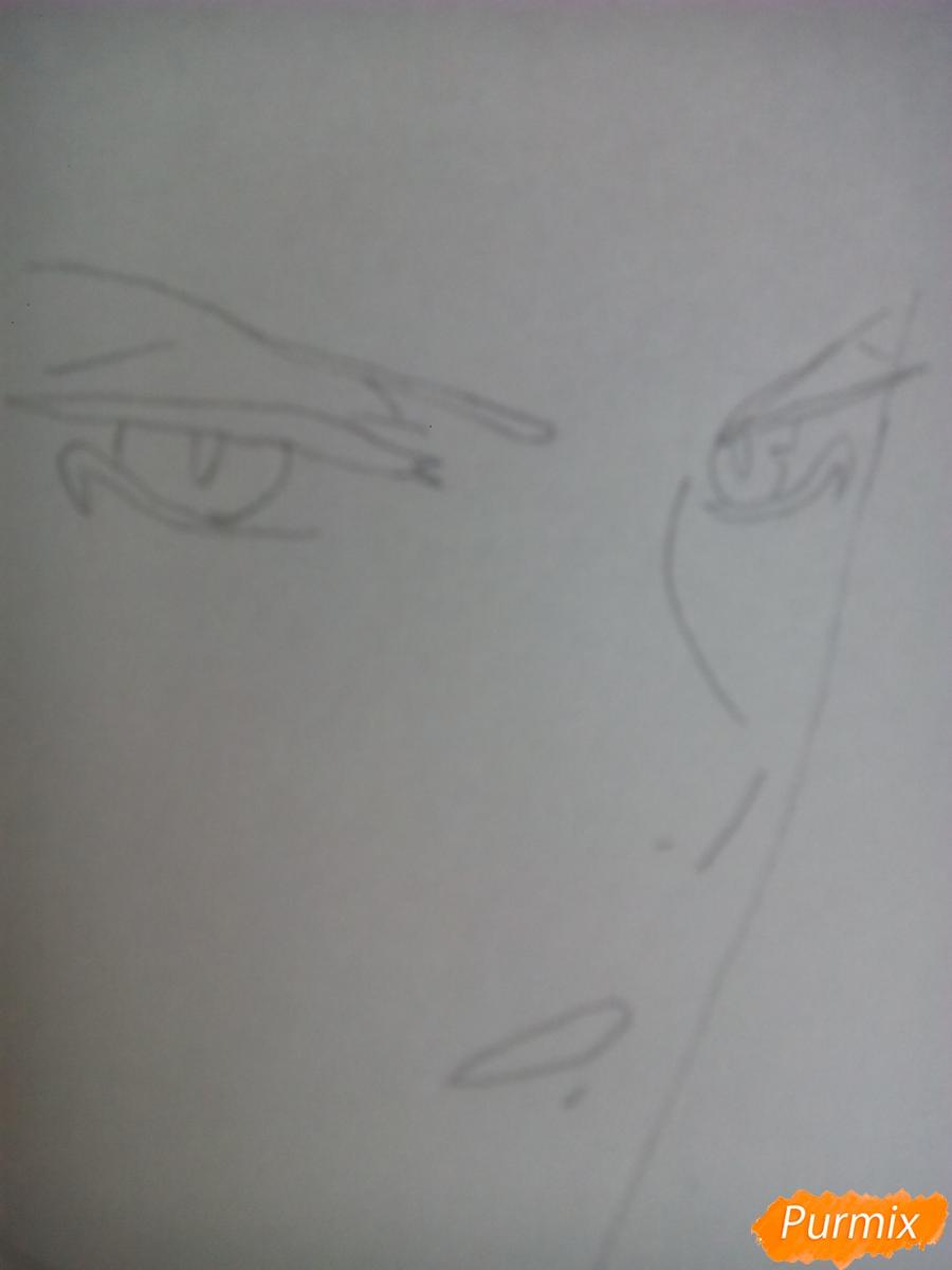Рисуем Субару Сакамаки цветными карандашами шаг за шагом - шаг 2