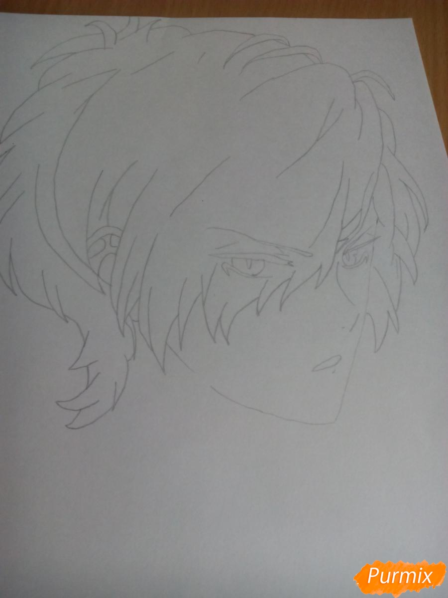 Рисуем Субару Сакамаки цветными карандашами шаг за шагом - шаг 3
