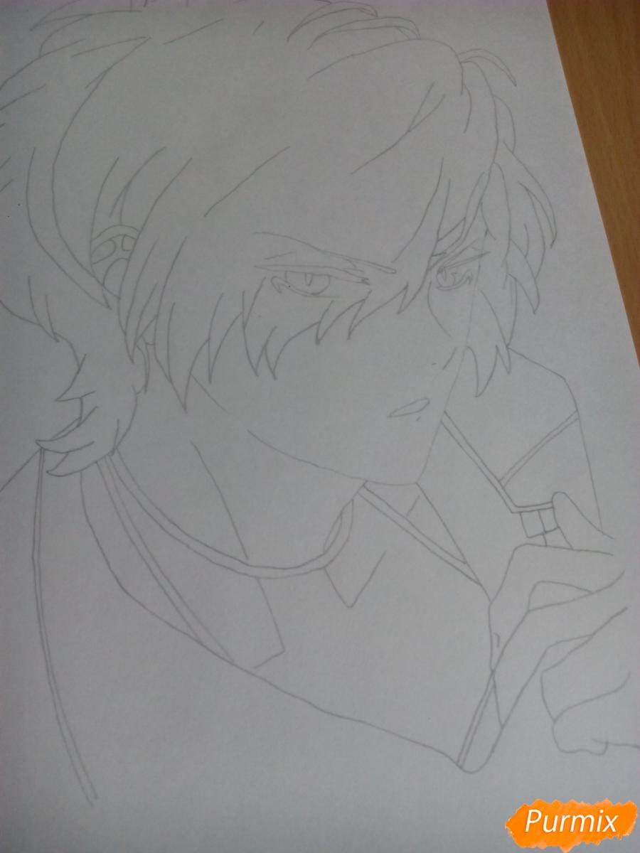 Рисуем Субару Сакамаки цветными карандашами шаг за шагом - шаг 4