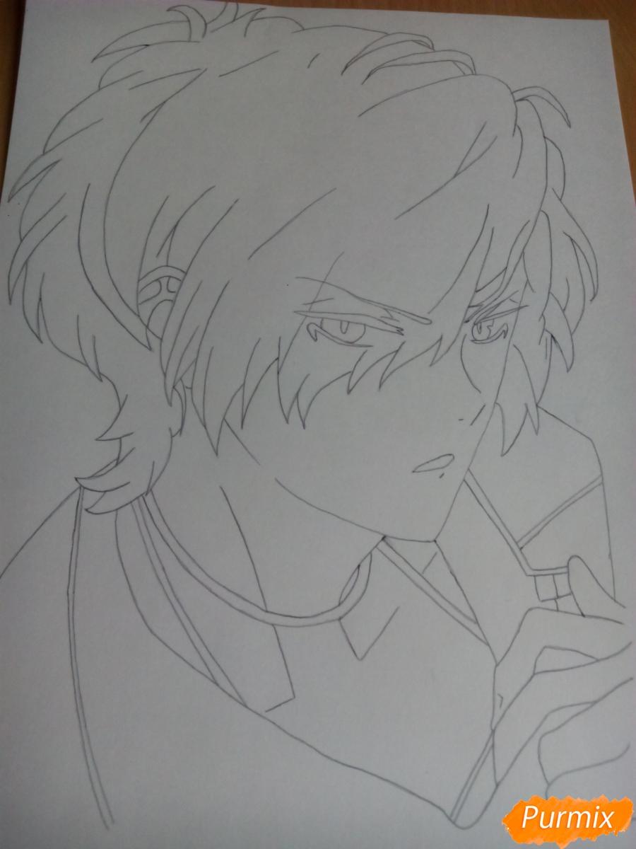 Рисуем Субару Сакамаки цветными карандашами шаг за шагом - шаг 5