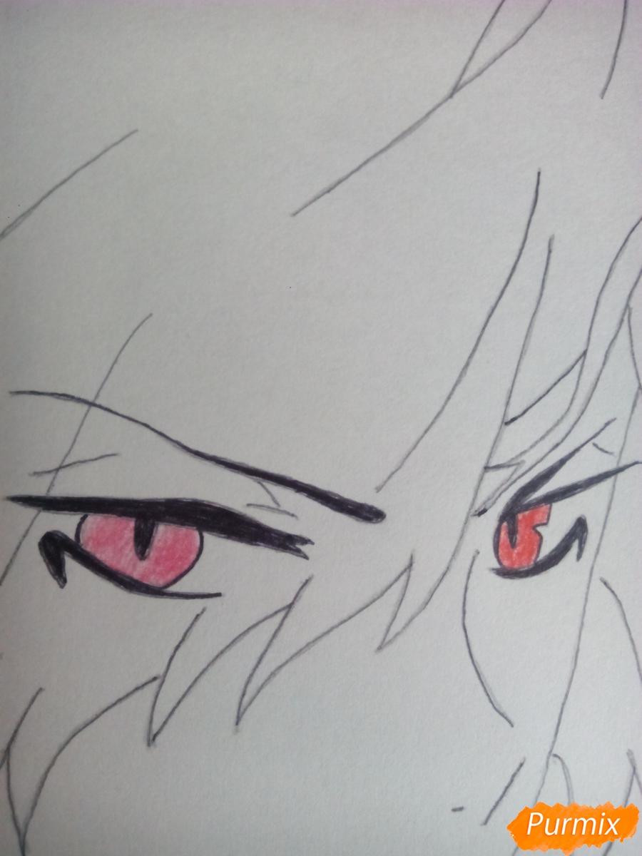 Рисуем Субару Сакамаки цветными карандашами шаг за шагом - шаг 6