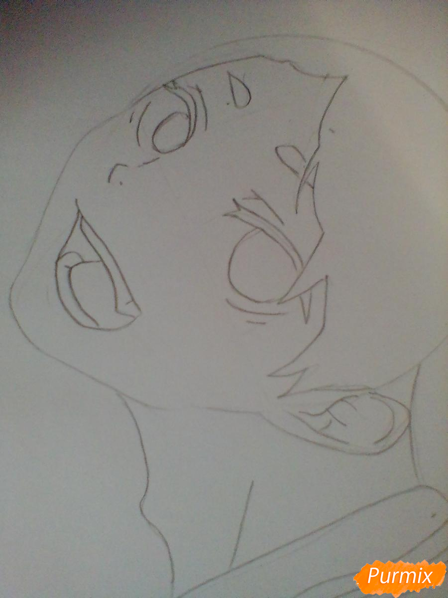 Рисуем Сугавару Коши из аниме Волейбол карандашами - шаг 3