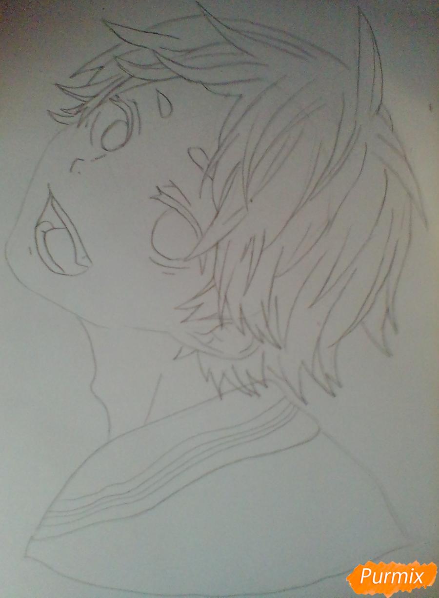 Рисуем Сугавару Коши из аниме Волейбол карандашами - шаг 4