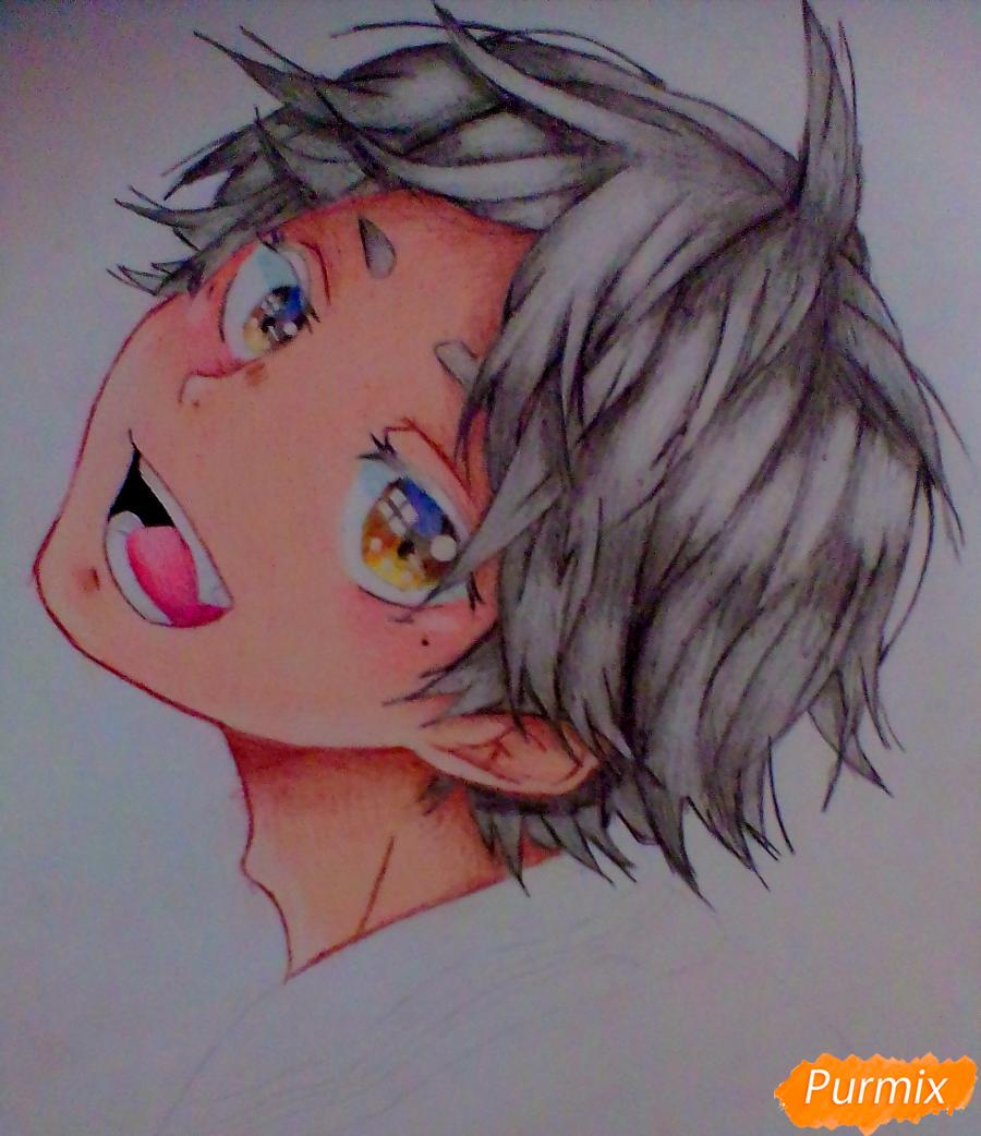 Рисуем Сугавару Коши из аниме Волейбол карандашами - шаг 7