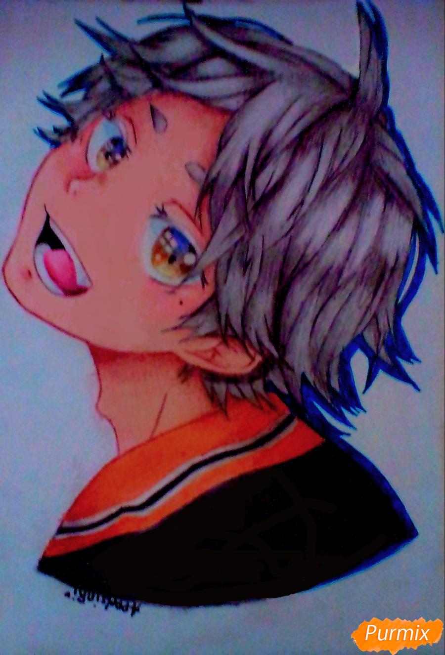 Как нарисовать Сугавару Коши из аниме Волейбол карандашами