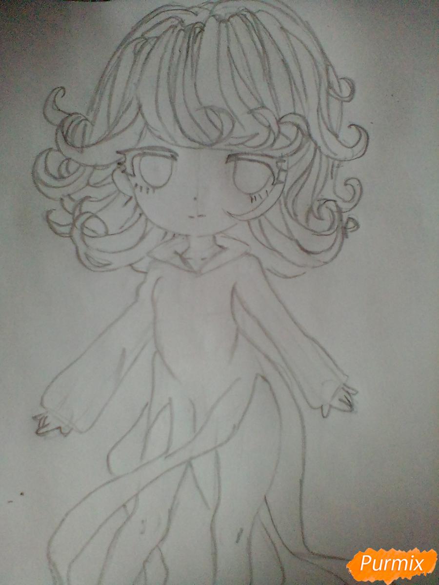 Рисуем и раскрасить Тацумаки из аниме ВанПанчМен - шаг 4