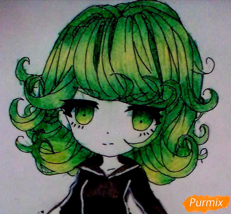 Рисуем и раскрасить Тацумаки из аниме ВанПанчМен - шаг 6