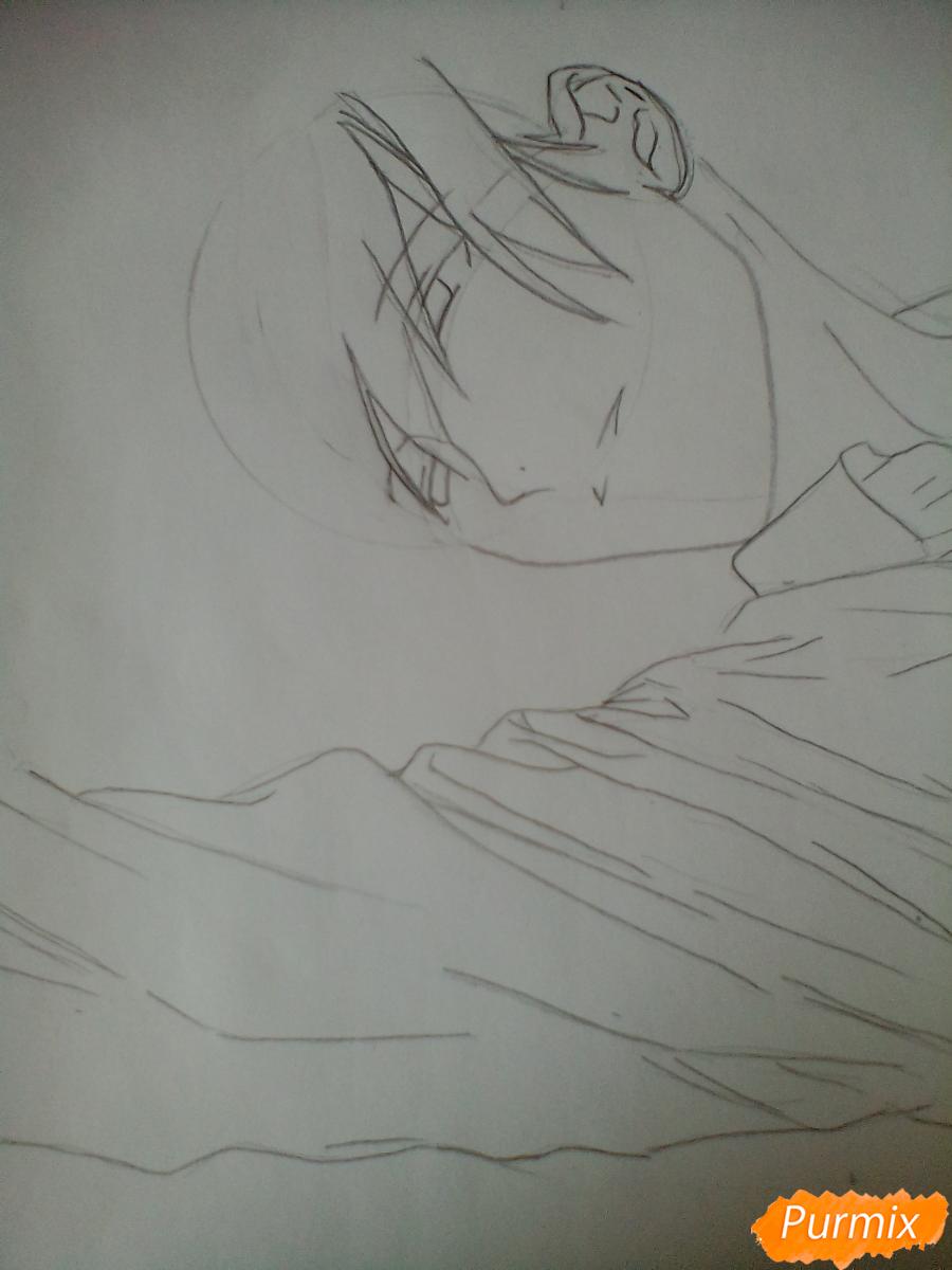 Рисуем Тадаоми Сиротани из манги До десяти - шаг 3
