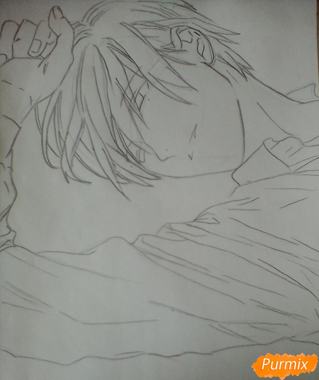 Рисуем Тадаоми Сиротани из манги До десяти - шаг 4
