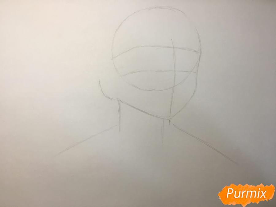 Рисуем Танджиро Камадо из аниме Клинок, рассекающий демонов - шаг 1