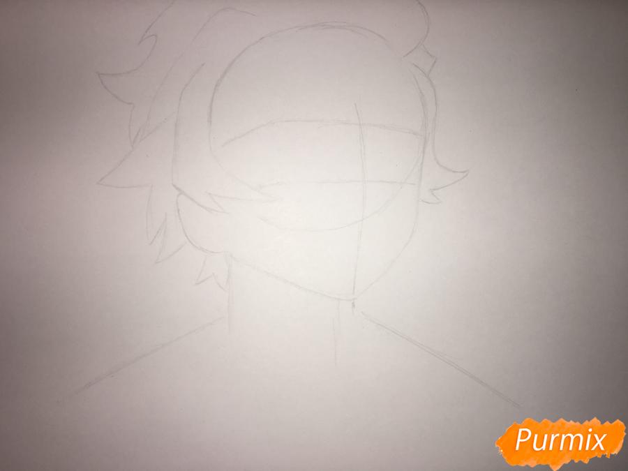 Рисуем Танджиро Камадо из аниме Клинок, рассекающий демонов - шаг 2