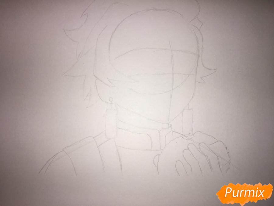 Рисуем Танджиро Камадо из аниме Клинок, рассекающий демонов - шаг 3