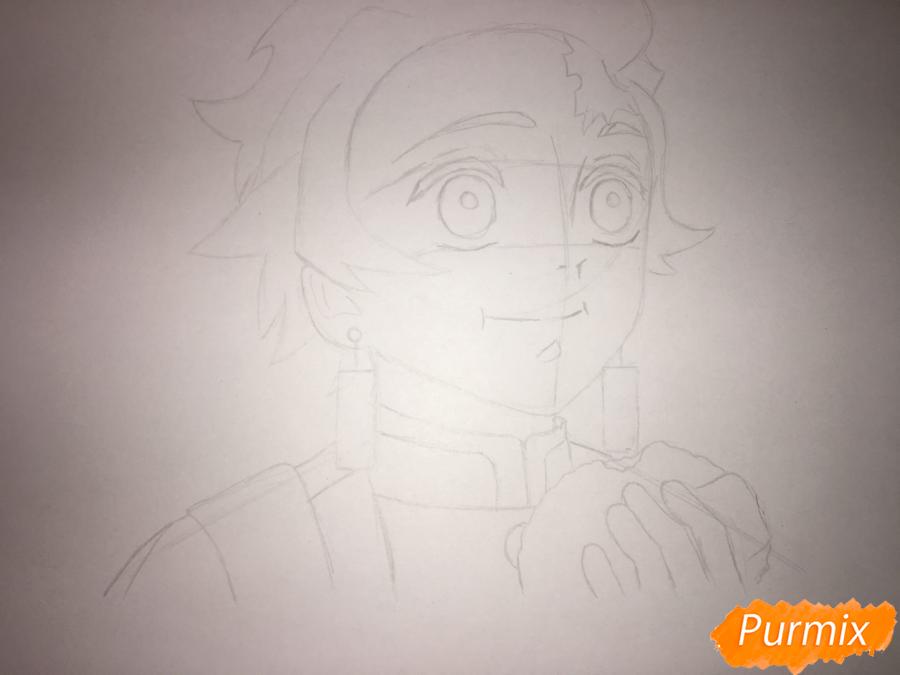 Рисуем Танджиро Камадо из аниме Клинок, рассекающий демонов - шаг 4