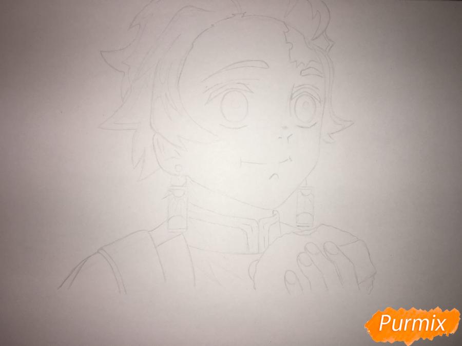 Рисуем Танджиро Камадо из аниме Клинок, рассекающий демонов - шаг 5