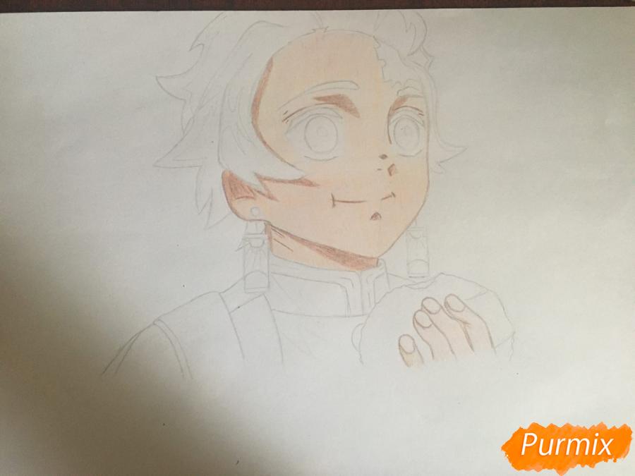 Рисуем Танджиро Камадо из аниме Клинок, рассекающий демонов - шаг 6