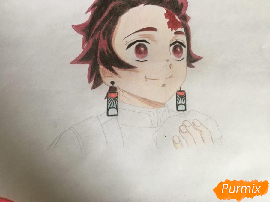 Рисуем Танджиро Камадо из аниме Клинок, рассекающий демонов - шаг 8