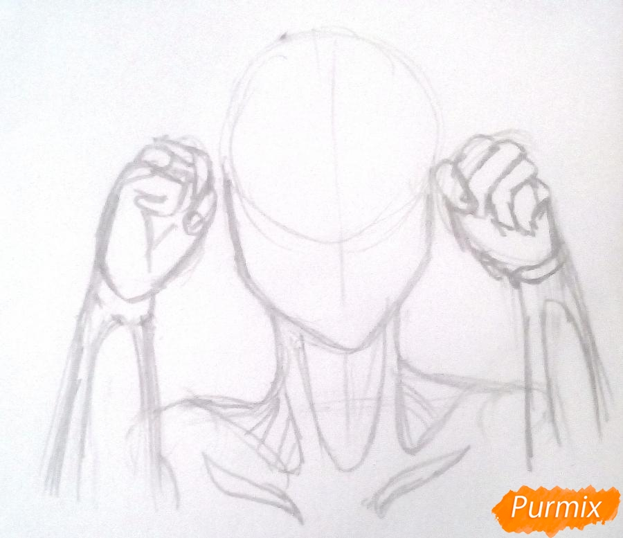 Рисуем титана Женскую Особь из аниме Атака Титанов карандашами - шаг 2