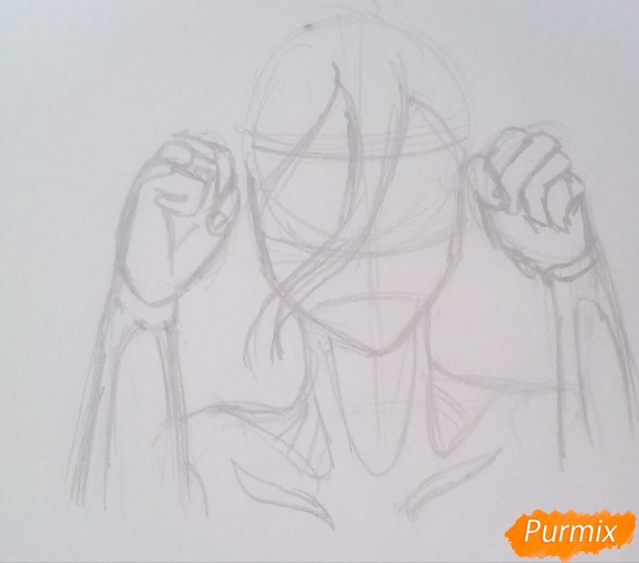 Рисуем титана Женскую Особь из аниме Атака Титанов карандашами - шаг 3