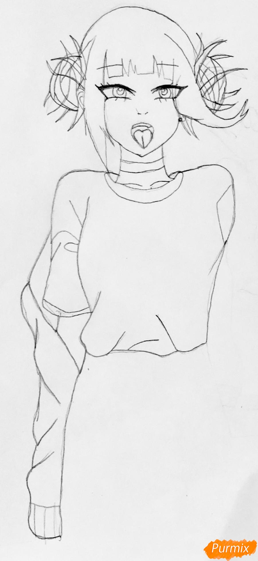 Рисуем Тогу Химико из аниме Моя Геройская Академия - шаг 2
