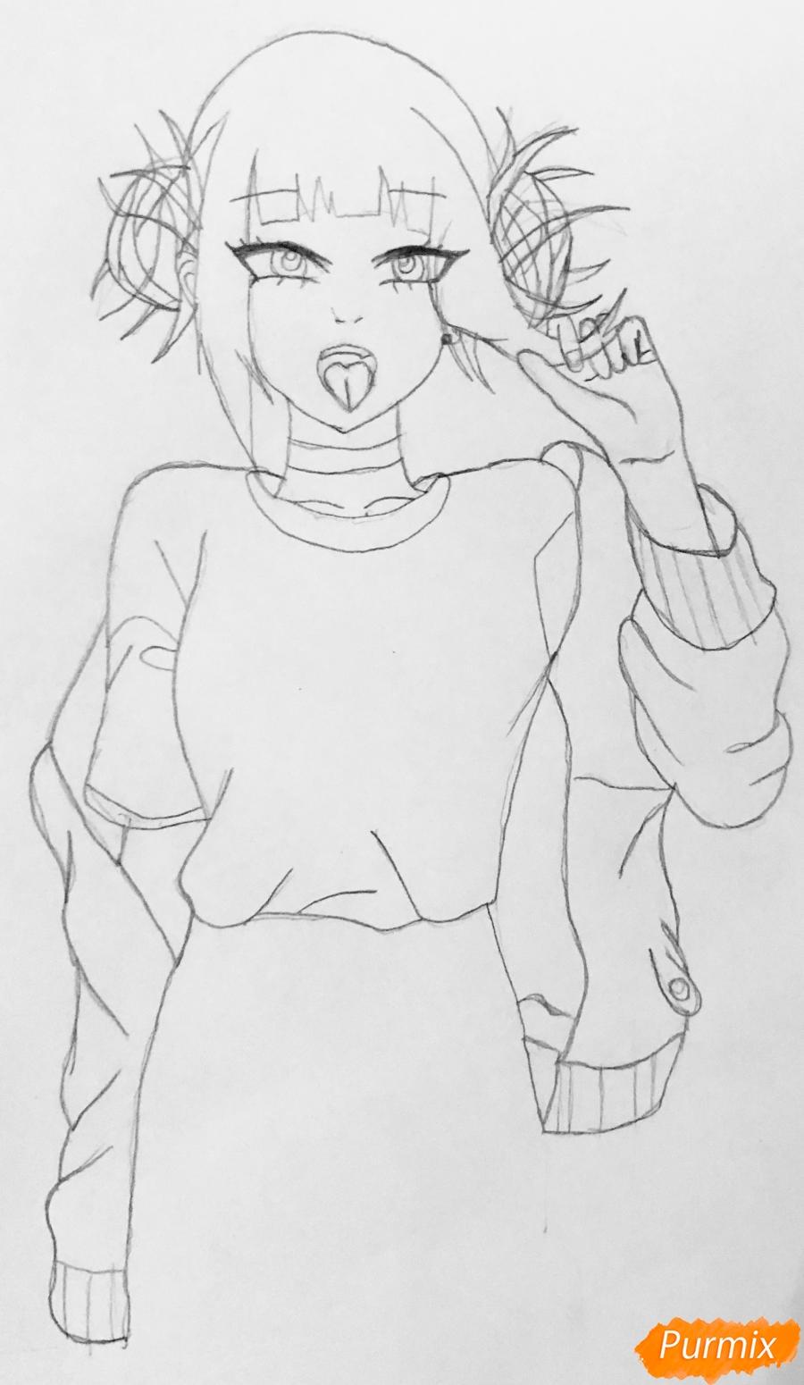 Рисуем Тогу Химико из аниме Моя Геройская Академия - шаг 3