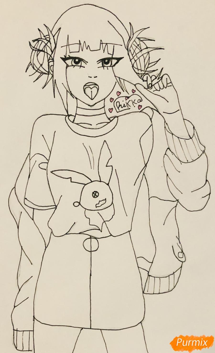 Рисуем Тогу Химико из аниме Моя Геройская Академия - шаг 5