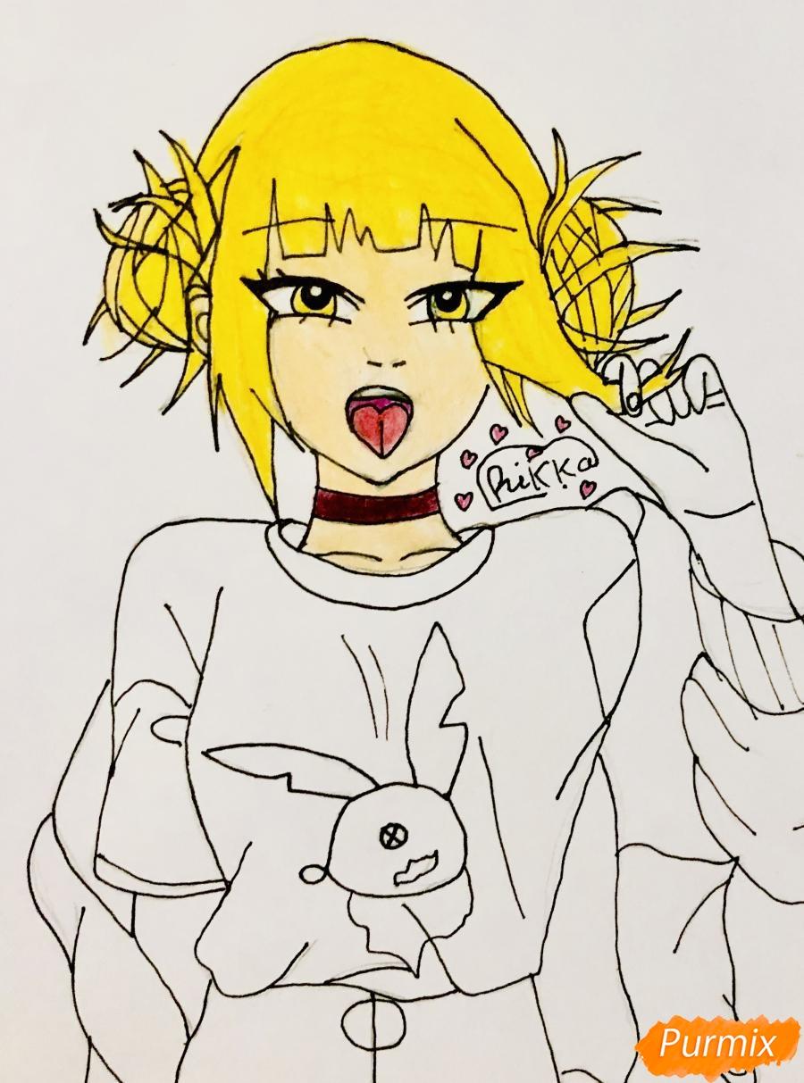 Рисуем Тогу Химико из аниме Моя Геройская Академия - шаг 6