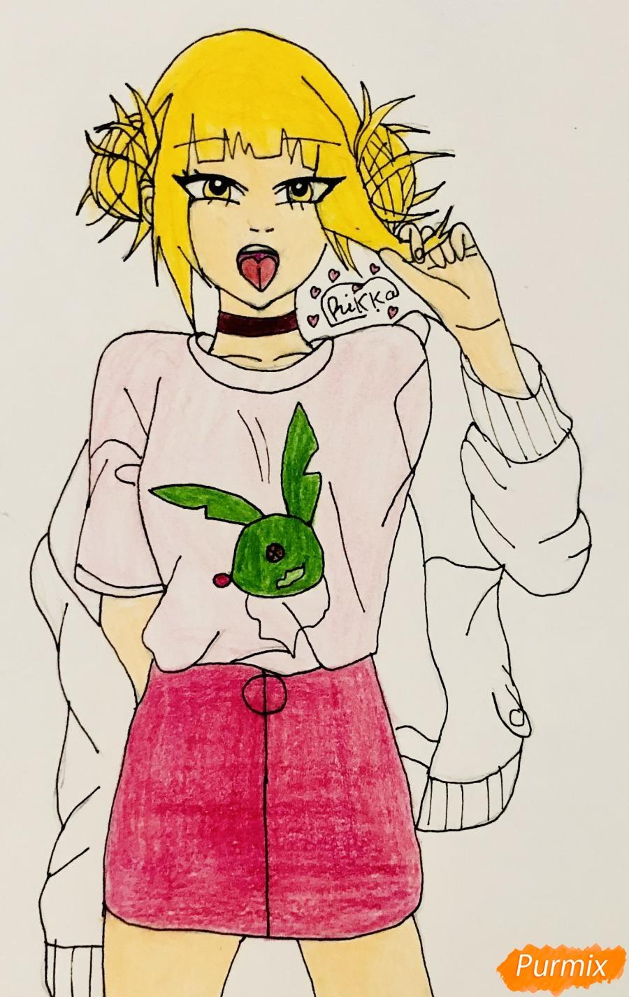 Рисуем Тогу Химико из аниме Моя Геройская Академия - шаг 8