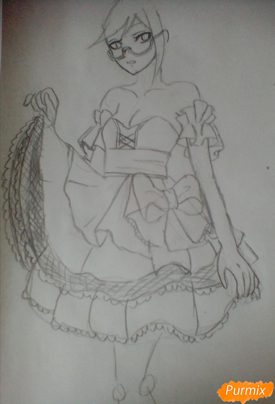 Рисуем Токо Фукаву из аниме Школа Отчаяния карандашами - шаг 3