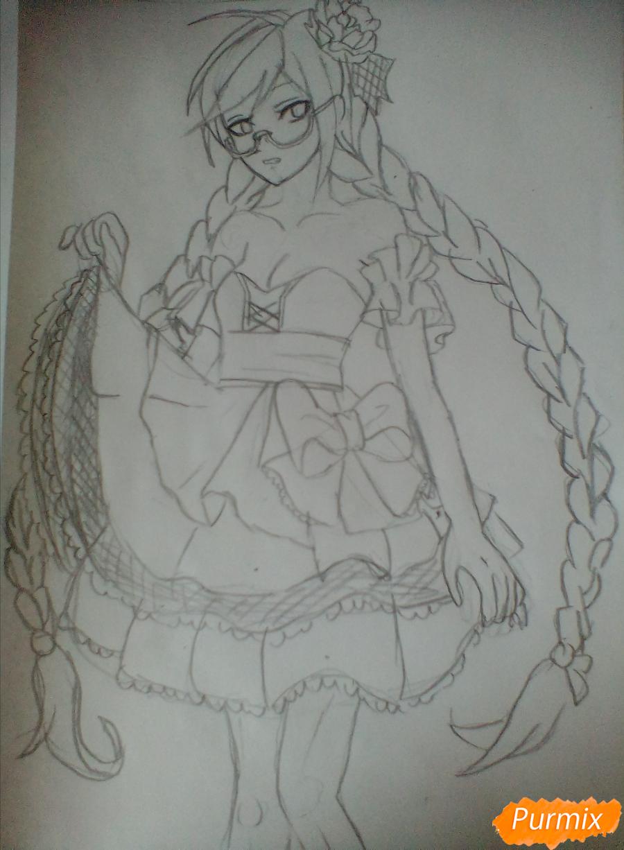 Рисуем Токо Фукаву из аниме Школа Отчаяния карандашами - шаг 4