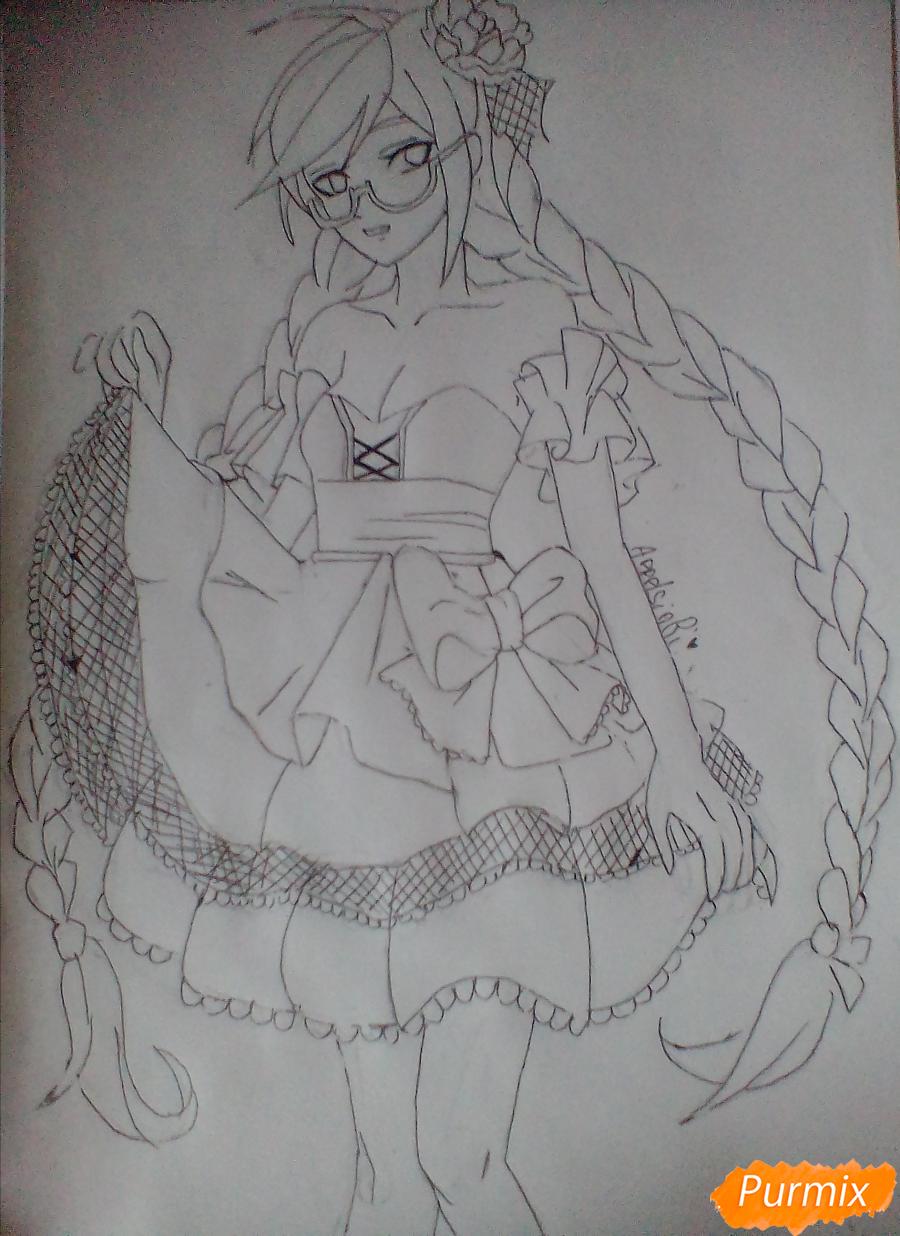 Рисуем Токо Фукаву из аниме Школа Отчаяния карандашами - шаг 5