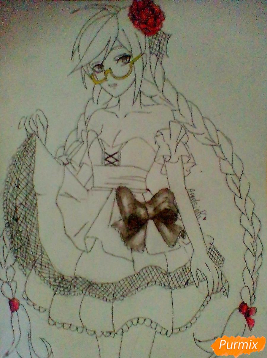 Рисуем Токо Фукаву из аниме Школа Отчаяния карандашами - шаг 6