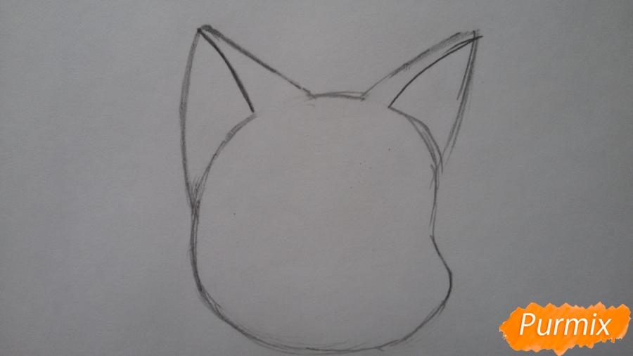Рисуем удивлённую кошку Луну для начинающих - шаг 2