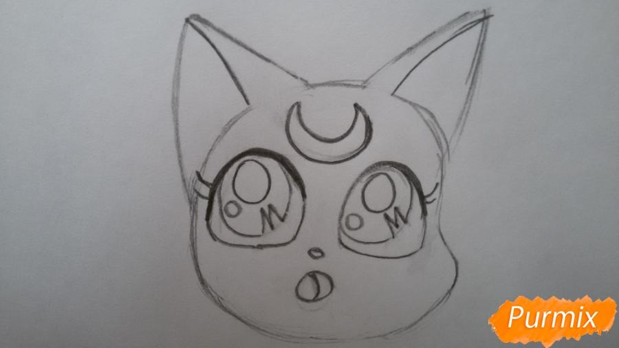 Рисуем удивлённую кошку Луну для начинающих - шаг 3