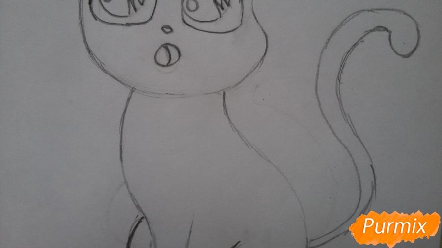 Рисуем удивлённую кошку Луну для начинающих - шаг 5