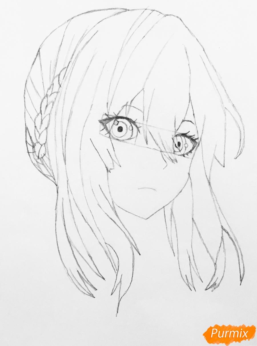 Рисуем портрет Вайолет Эвергарден из аниме Вайолет Эвергарден - шаг 6