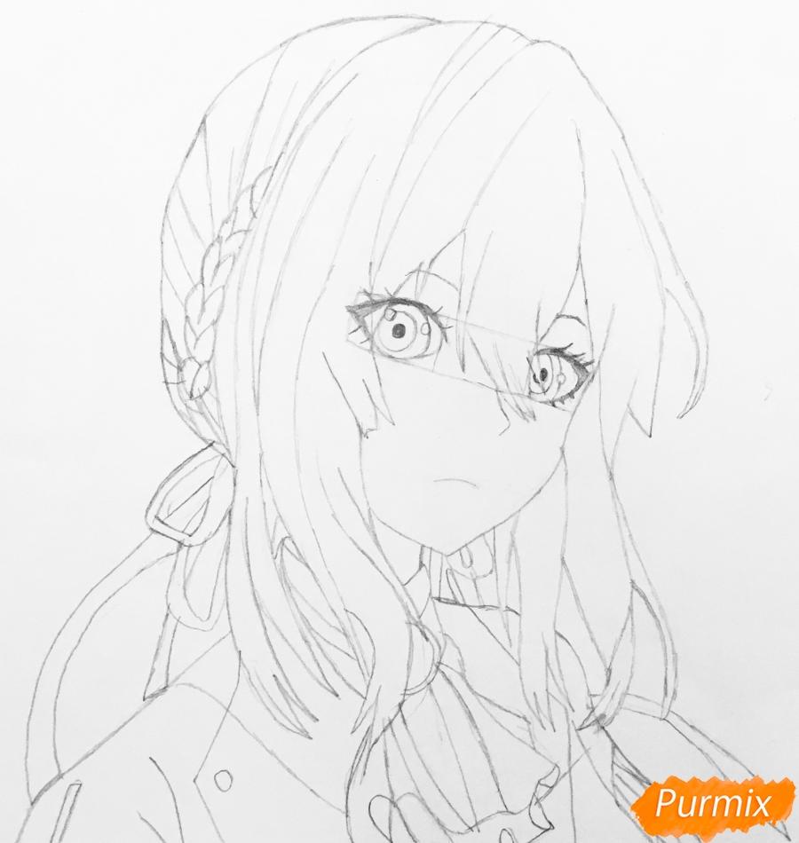Рисуем портрет Вайолет Эвергарден из аниме Вайолет Эвергарден - шаг 9