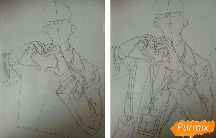 Рисуем Виктора Никифорова из аниме Юри на льду - шаг 2