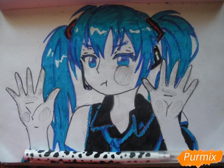 Рисуем фломастерами Хатсуне Мику за стеклом - шаг 10