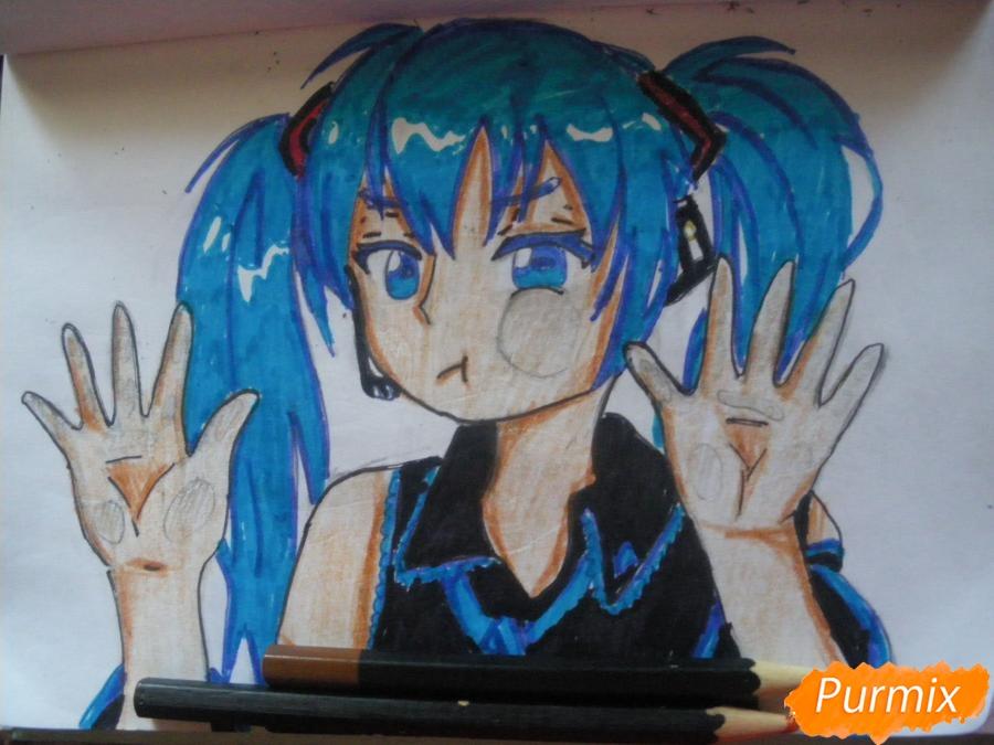 Рисуем фломастерами Хатсуне Мику за стеклом - шаг 11