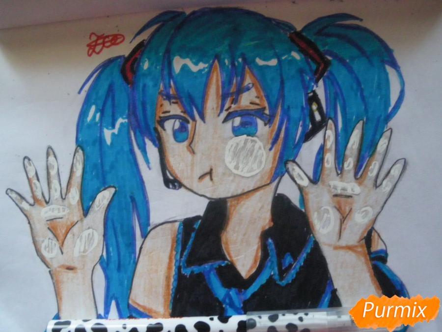 Рисуем фломастерами Хатсуне Мику за стеклом - шаг 12