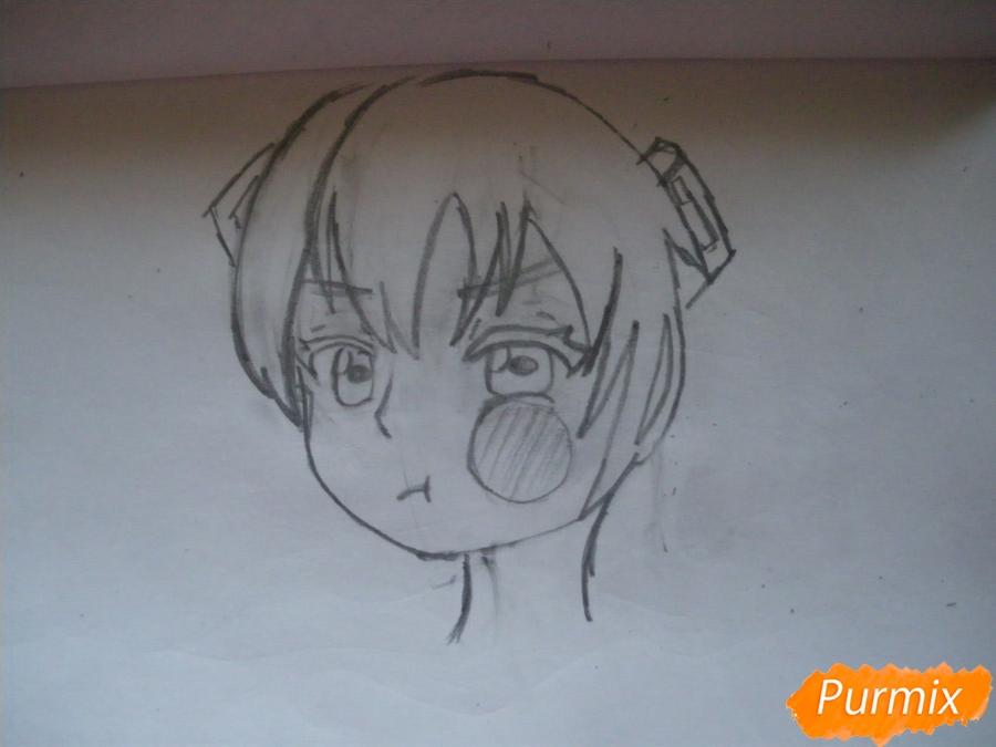 Рисуем фломастерами Хатсуне Мику за стеклом - шаг 3