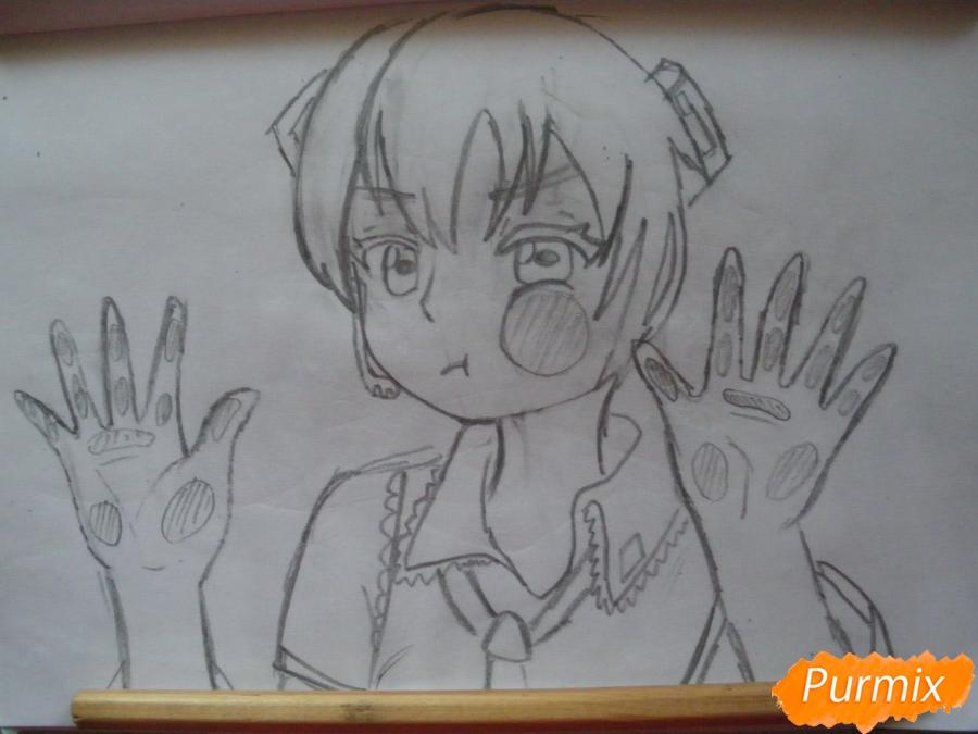 Рисуем фломастерами Хатсуне Мику за стеклом - шаг 5