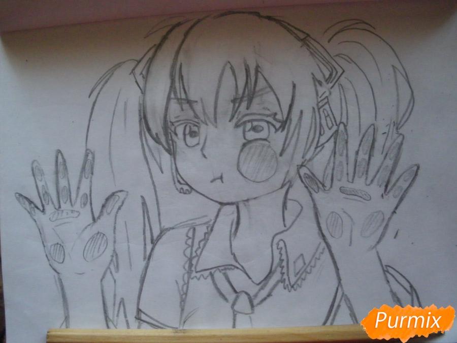 Рисуем фломастерами Хатсуне Мику за стеклом - шаг 6