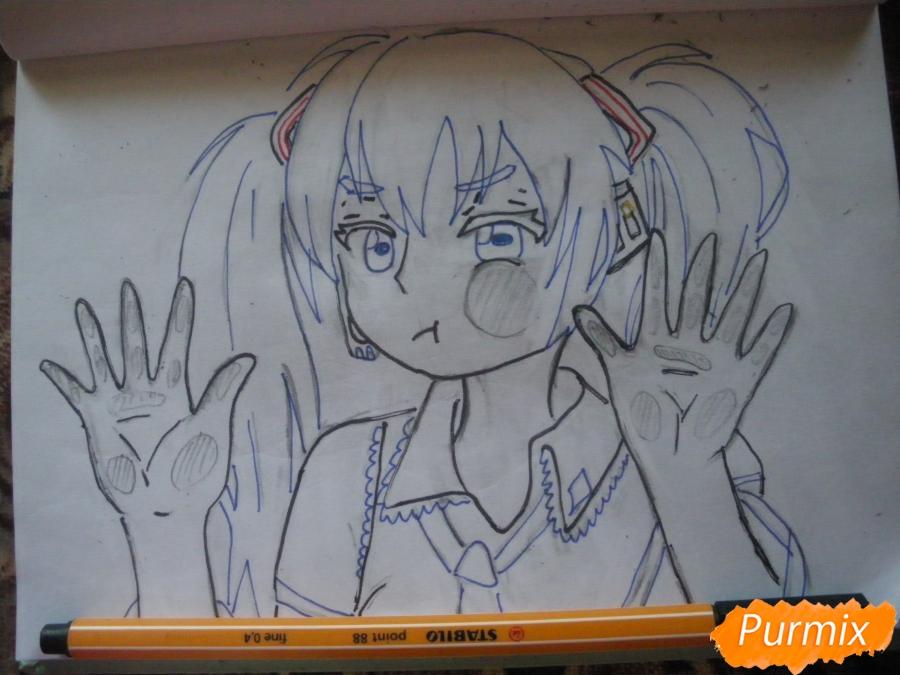 Рисуем фломастерами Хатсуне Мику за стеклом - шаг 7