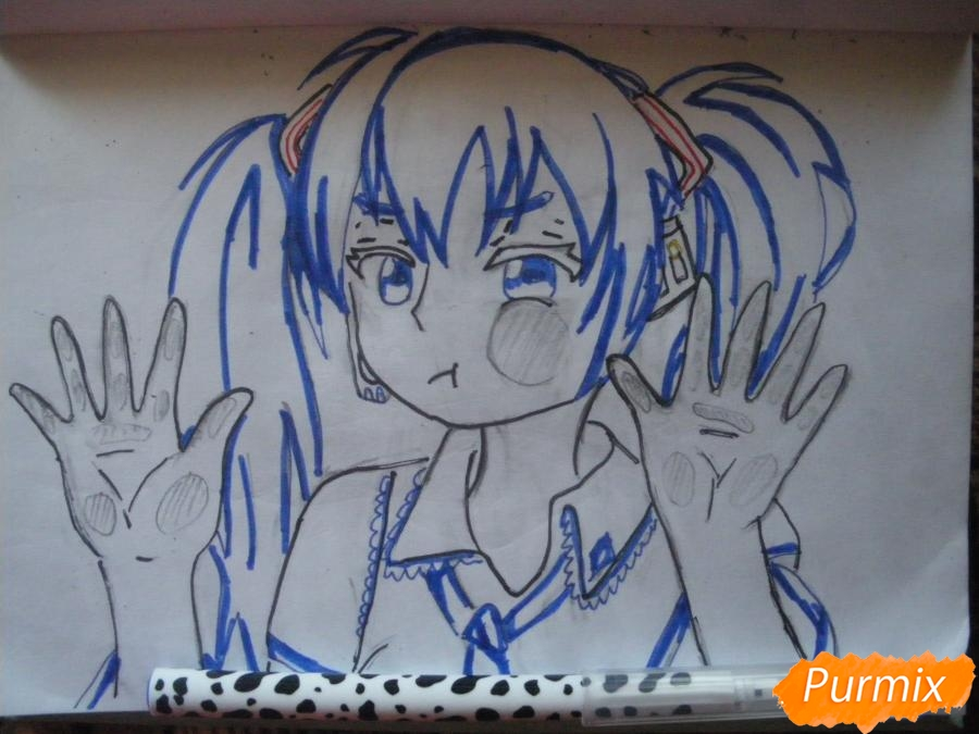 Рисуем фломастерами Хатсуне Мику за стеклом - шаг 8