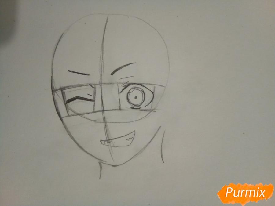 Рисуем Ято цветными карандашами - шаг 2